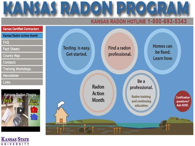 screen shot of www.kansasradonprogram.org website showing the resources for kansas radon technicians