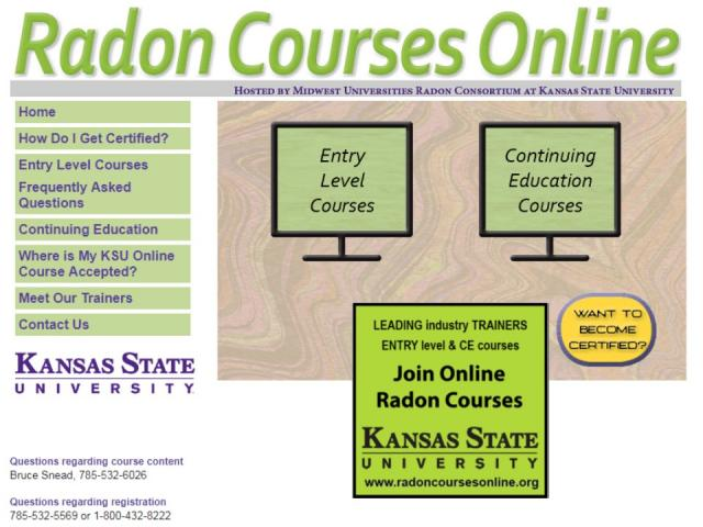 screen shot of www.radoncoursesonline.org website showing the courses offered