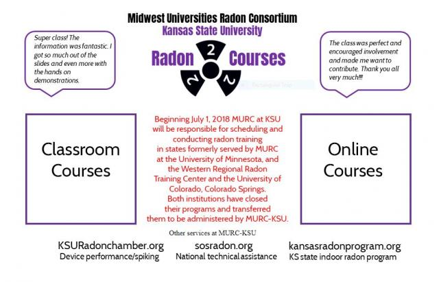 image capture of www.radoncourses.com showing information on the creation of the consolidated online and in-person radon courses run through Kansas State University