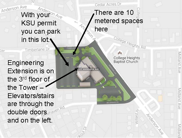 Parking map for KSU Engineering Extension